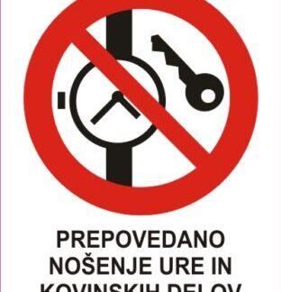 Prepovedano nosenje ure in kovinskih delov 1