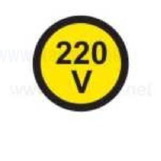 nalepka 220V, premer. 36mm, pola: 4 nalepke