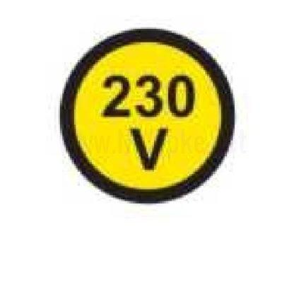 nalepka 230V, premer. 36mm, pola: 4 nalepke