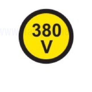nalepka 380V, premer. 36mm, pola: 4 nalepke