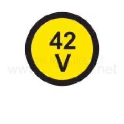 nalepka 42V, premer. 36mm, pola: 4 nalepke