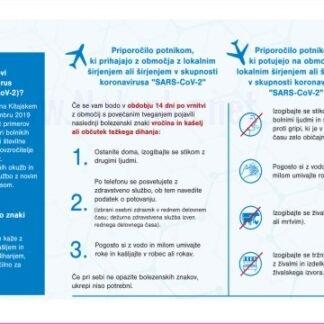 Priporočilo potnikom, ki prihajajo z območja z lokalnim širjenjem ali širjenjem v skupnosti koronavirusa