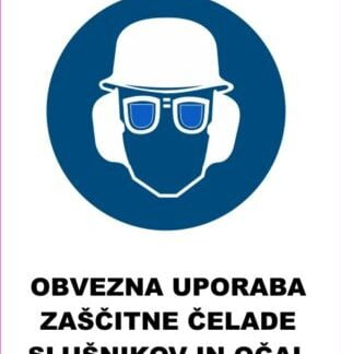 Obevzna uporaba čelade slušnikov in očal 2