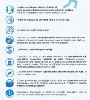 Navodila za preprečevanje širjenja novega koronavirusa