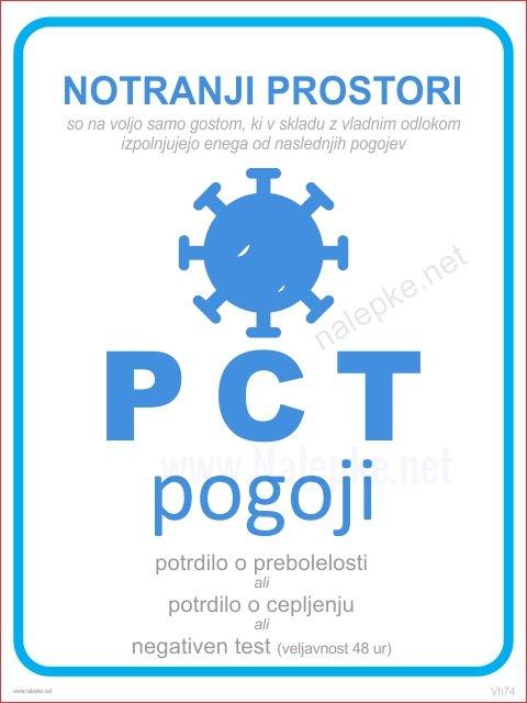 PCT pogoji nalepka ali tabla