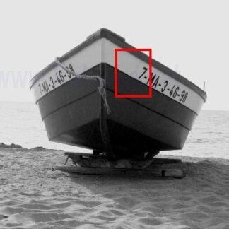 posamezna črka ali številka za čoln